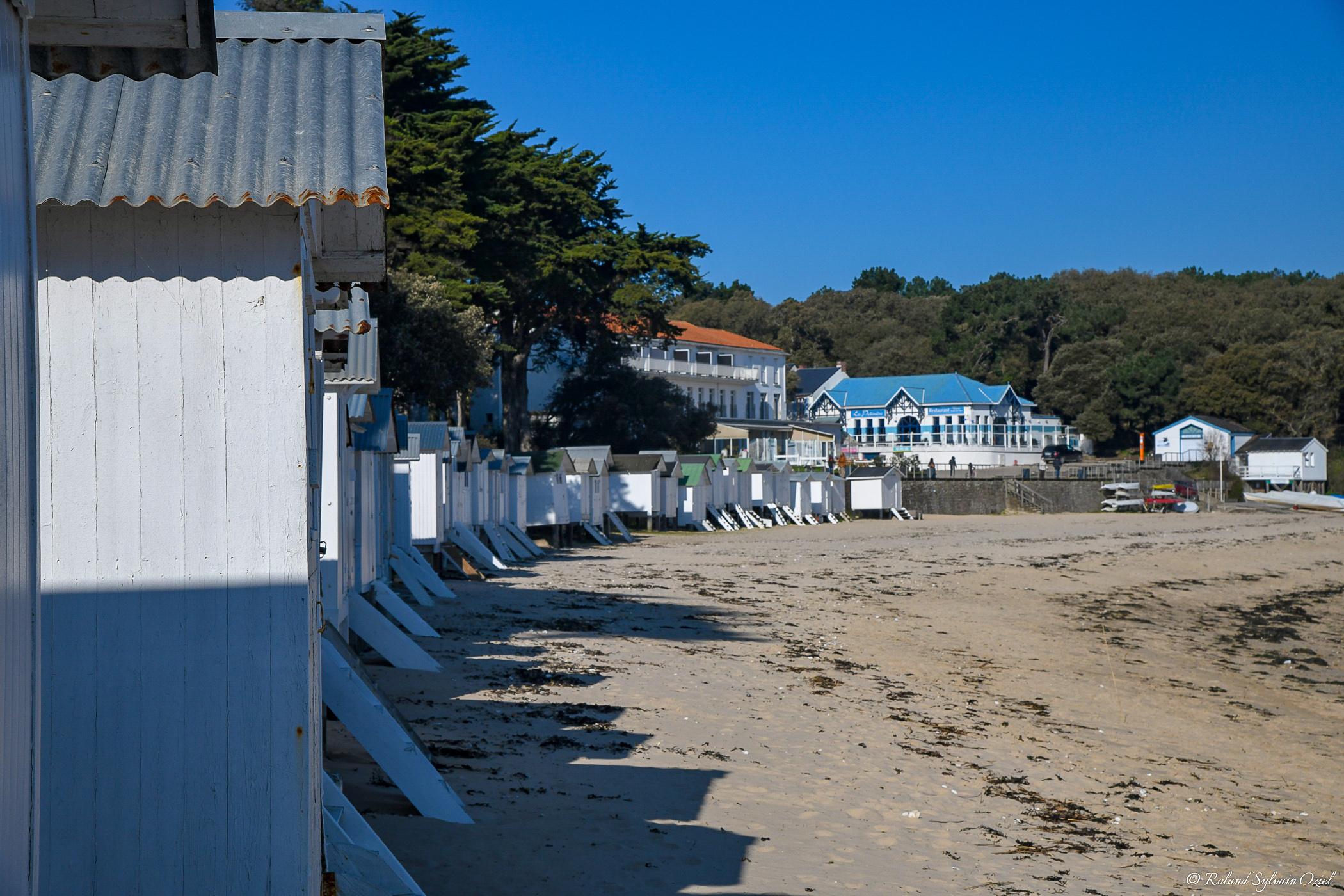 Cabines de plage de la plage des Dames sur l'Ile de Noirmoutier